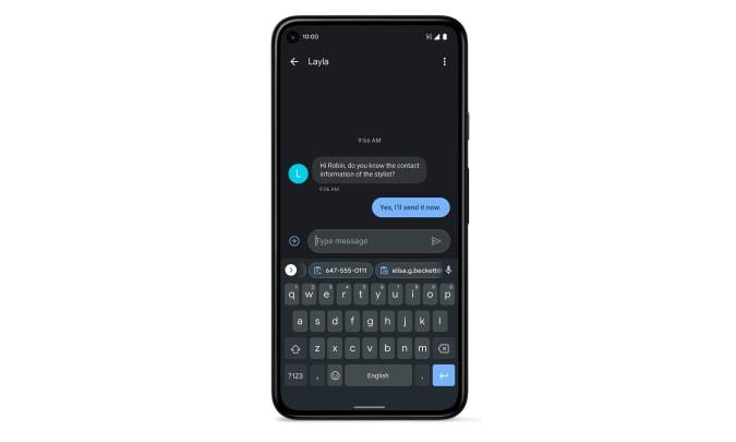 Google Gboard clipboard suggestions. An image showing the different clipboard suggestions above the keyboard in a Pixel phone.