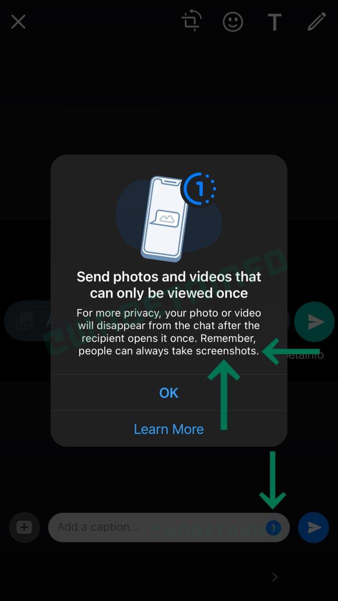 WhatsApp self-erasing media