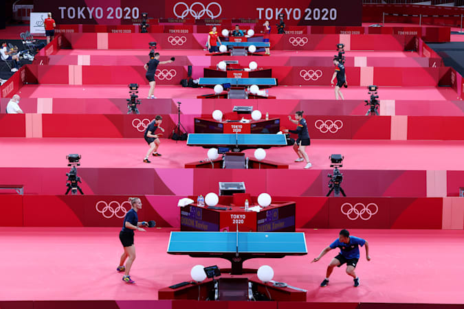 Tokyo 2020 Olympics - Table Tennis Training - Tokyo Metropolitan Gymnasium, Tokyo, Japan - July 20, 2021 General view of athletes during training REUTERS/Thomas Peter
