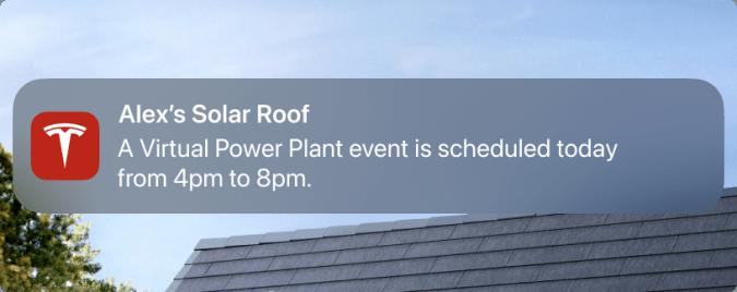 Tesla Powerwall virtual power plant event notification