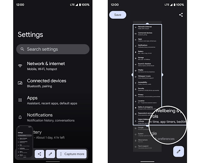 Two screenshots showing how the scrolling screenshot feature in the third Android 12 beta will work. The first screenshot shows an image of the Settings page with a thumbnail on the bottom left and options for sharing, editing and
