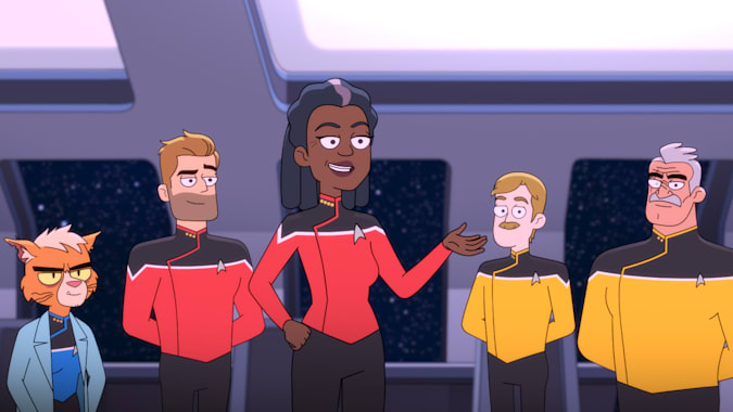 Pictured Gillian Vigman as Dr. T'ana, Jerry O'Connell as Commander Ransom, Dawnn Lewis as Captain Freeman, Paul Scheer as Lt. Commander Andy Billups and Fred Tatasciore as Lieutenant Shaxs of the CBS All Access series STAR TREK: LOWER DECKS.   Photo Cr: Best Possible Screen Grab CBS 2020 CBS Interactive, Inc. All Rights Reserved.