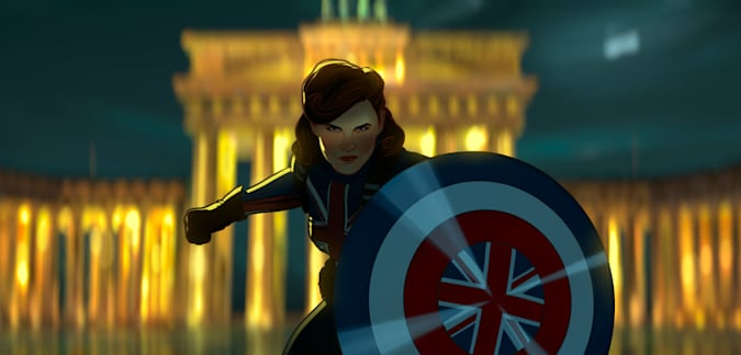 Captain Carter with her mighty shield