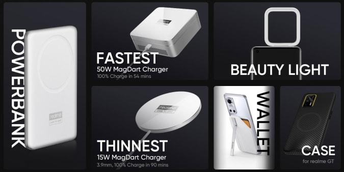 Power bank MagDart 2 em 1, carregador MagDart de 50 W, carregador MagDart de 15 W, luz de beleza MagDart, carteira MagDart e case MagDart para Realme GT.