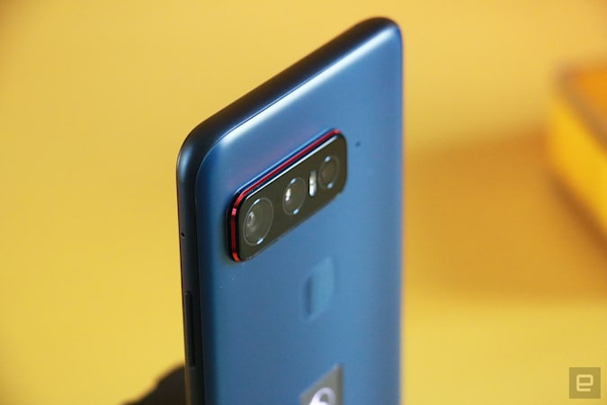 A close up view of the Smartphone for Snapdragon Insiders' three rear cameras at an angle.