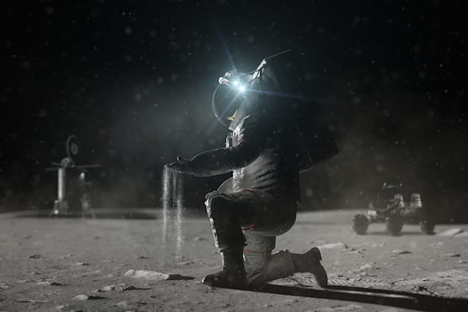 Render of NASA astronaut holding Moon regolith
