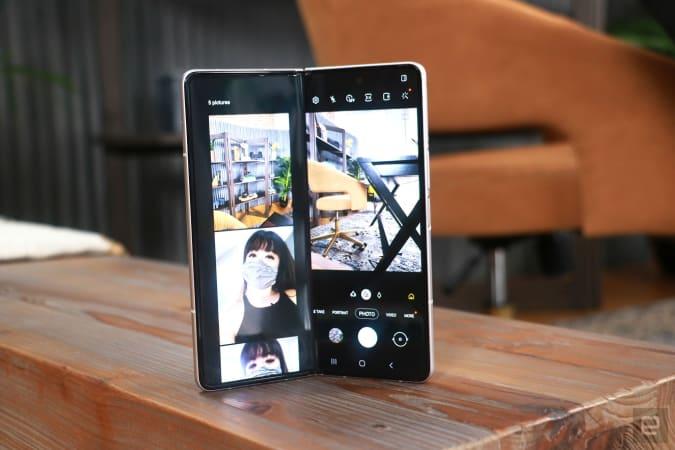 Galaxy Z Fold 3 with the camera app open in Flex mode