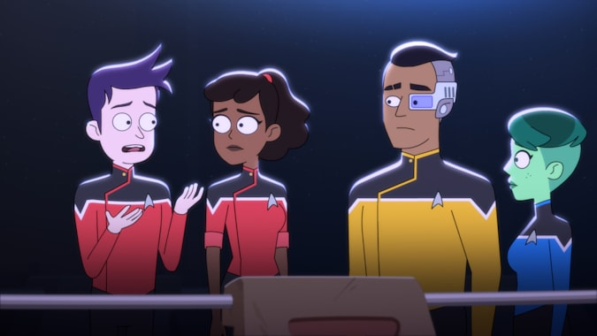 Pictured (L-R): Jack Quaid as Ensign Brad Boimler, Tawny Newsome as Ensign Beckett Mariner, Eugene Cordero as Ensign Rutherford and Noël Wells as Ensign Tendi of the CBS All Access series STAR TREK: LOWER DECKS.   Photo Cr: Best Possible Screen Grab CBS 2020 CBS Interactive, Inc. All Rights Reserved.