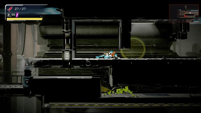 Samus sliding under a wall