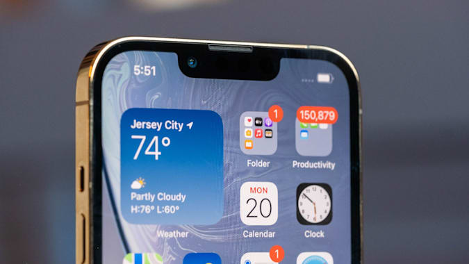 A medium shot of the notch housing the iPhone 13 Pro's front camera.