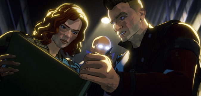Natasha and Clint, being observed by the Watcher