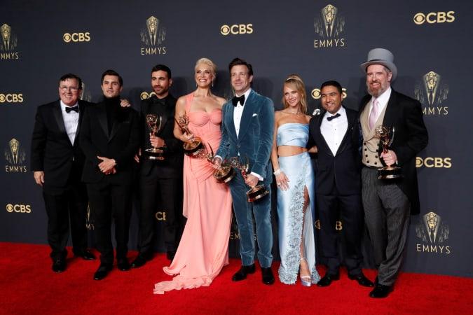 Actors Jeremy Swift, Phil Dunster, Brett Goldstein, Hannah Waddingham, Jason Sudeikis, Juno Temple, Nick Mohammed and Brendan Hunt, cast members of
