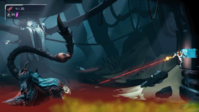 Samus clings to a wall while firing at a creature