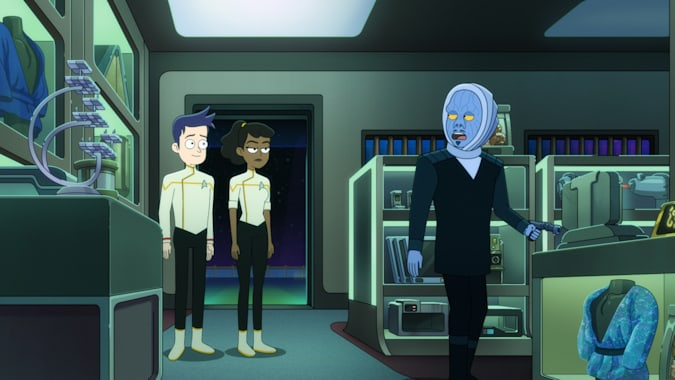 """205: """"An Embarrassment of Dooplers"""" -- Jack Quaid as Ensign Brad Boimler and Tawny Newsome as Ensign Beckett Mariner and Tom Kenny as Melvis of the Paramount+ series STAR TREK: LOWER DECKS. Photo: PARAMOUNT+ ©2021 CBS Interactive, Inc. All Rights Reserved **Best Possible Screen Grab**"""
