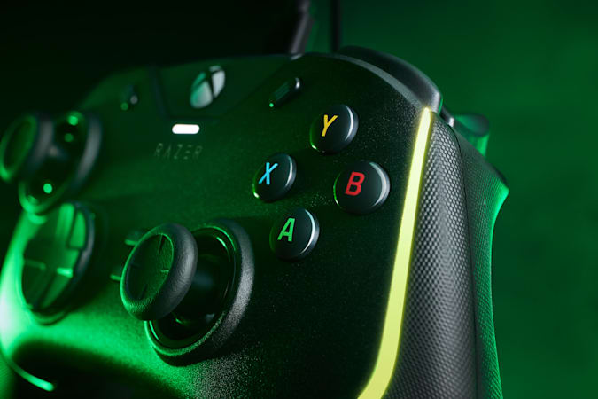Razer Wolverine V2 Chroma from side with yellow-green lighting