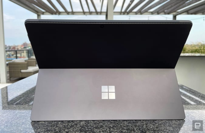 Microsoft's Surface Pro 8, photographed from behind on a roof deck.