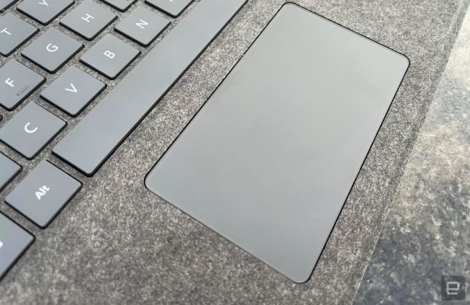 Close-up of the touchpad on the Microsoft Surface Signature Pro Keyboard.