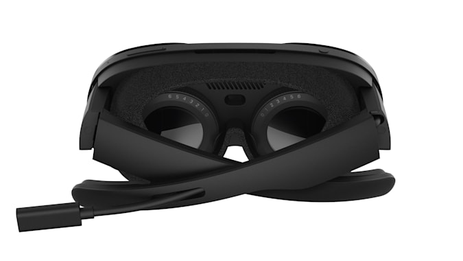Picture of the diopter lens on the back of an HTC Vive stream