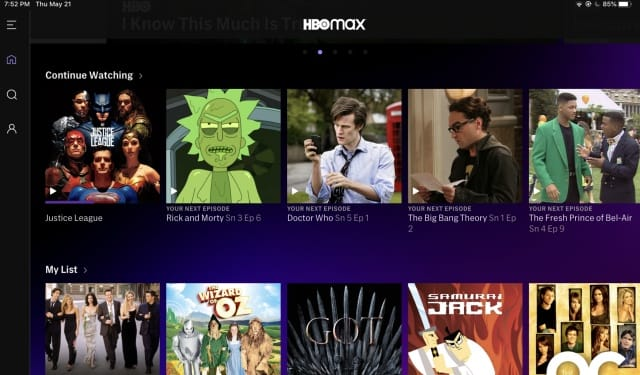 HBO Max - Continue Watching on iPad