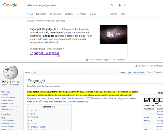 Google featured snippet highlight