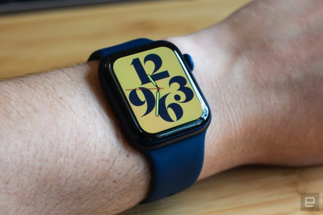 The Apple Watch Series 6 on a person's wrist.