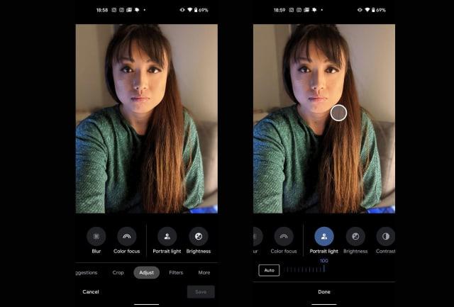 Google Pixel 4a 5G photo editor portrait light