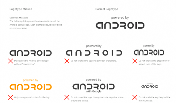 google mandates android logo on device bootup screens