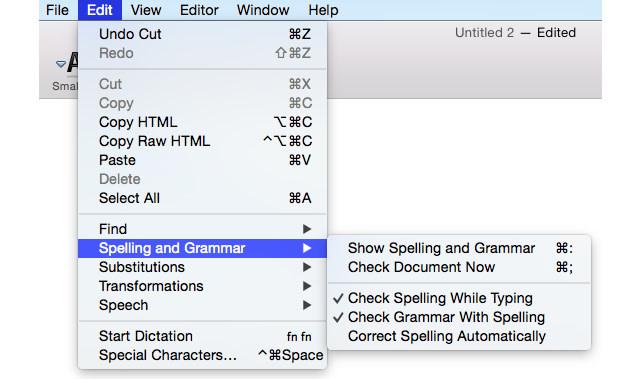 mac built-in spell checker