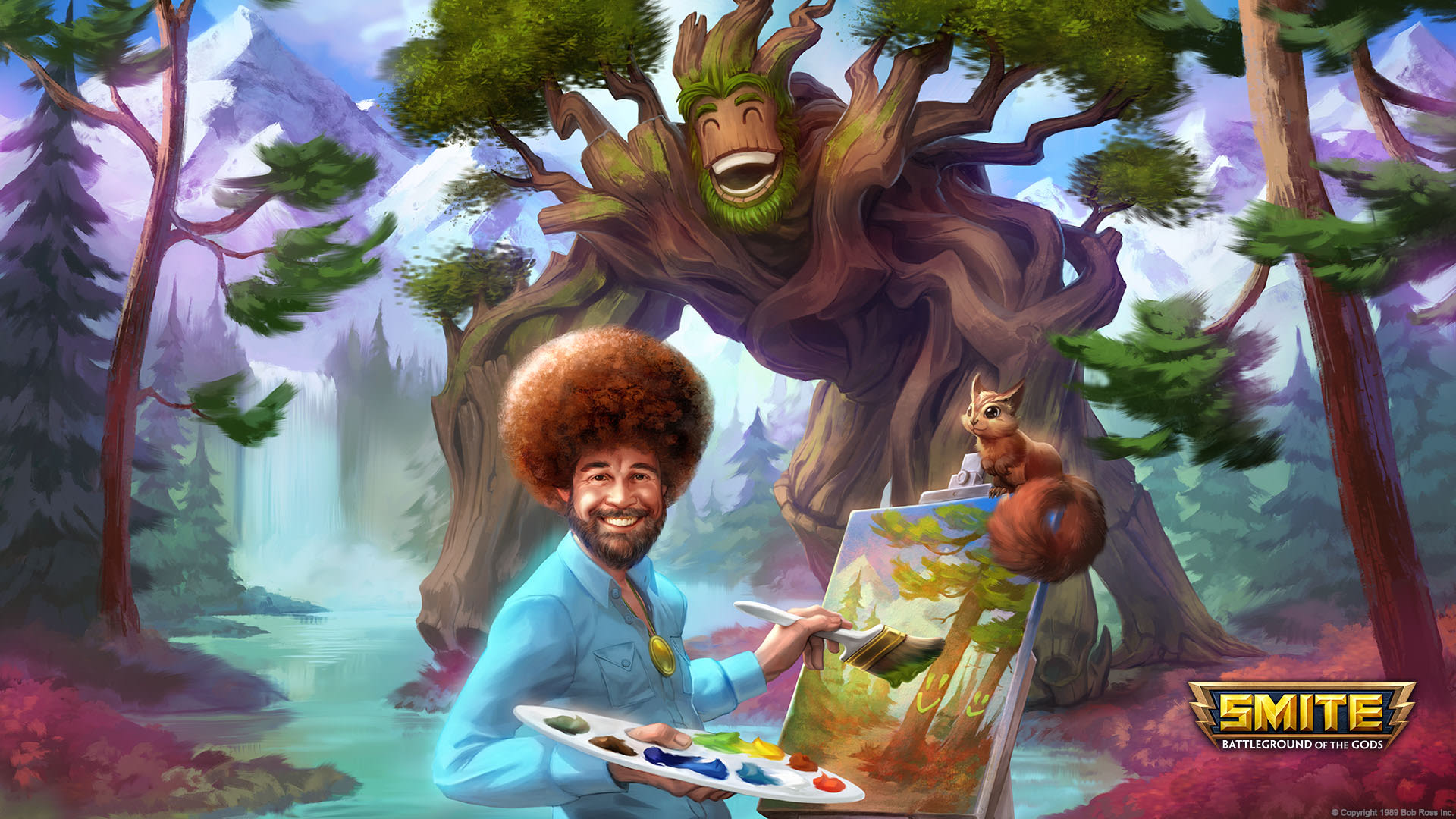 Smite adds bob ross as a paint throwing playable character hi rez studios bob ross voltagebd Gallery