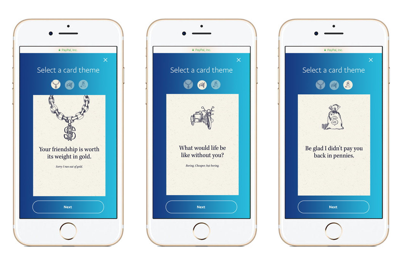 paypal made digital money cards to send to your friends