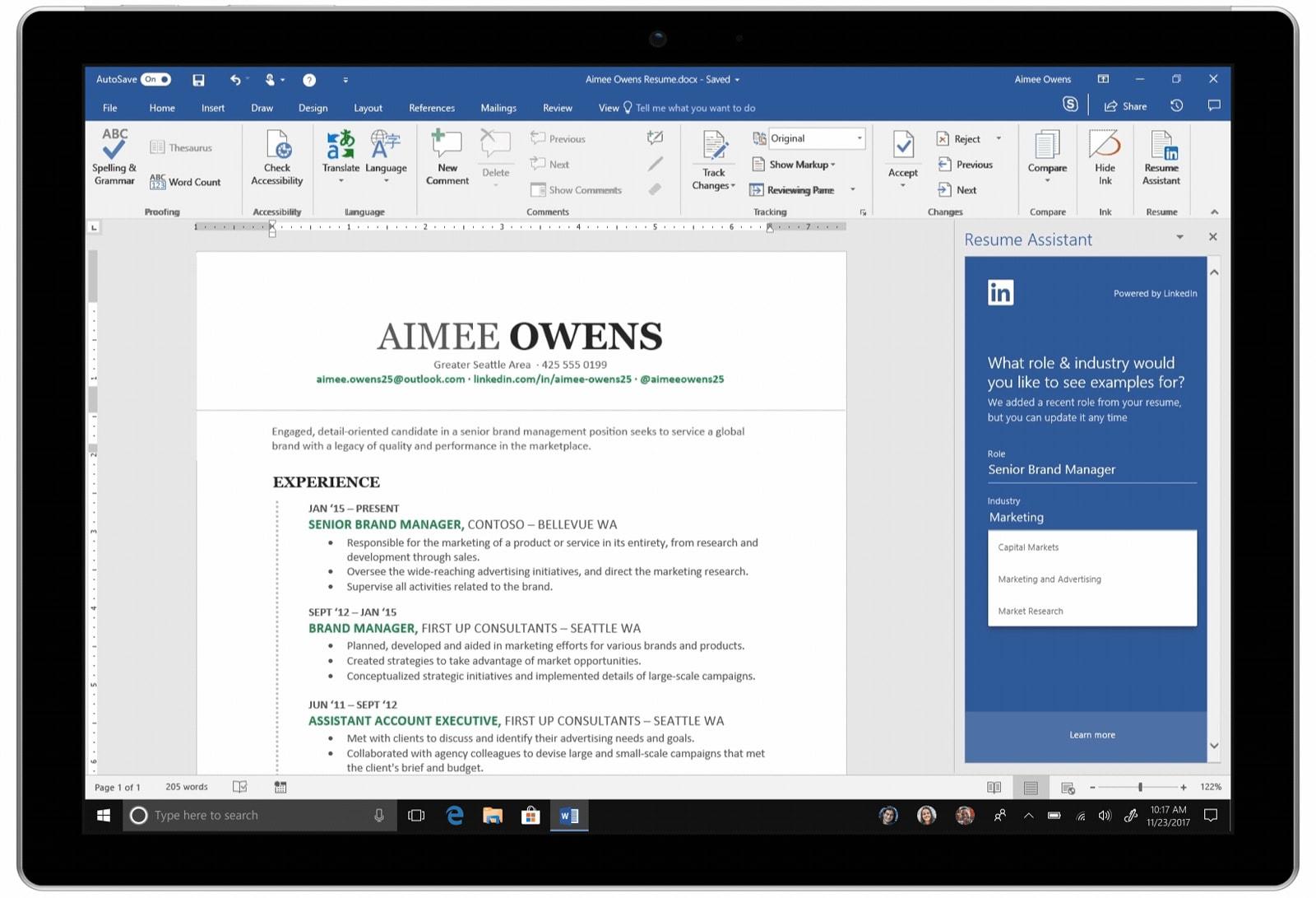 Microsoft releases its linkedin resume helper for word microsoft altavistaventures Choice Image