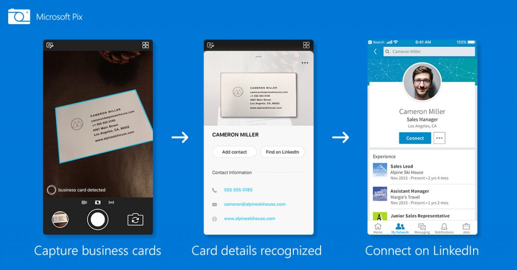 Microsoft pix can add business card info to your contacts microsoft reheart