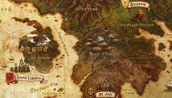 World map and points of interest in latest Final Fantasy XIV update