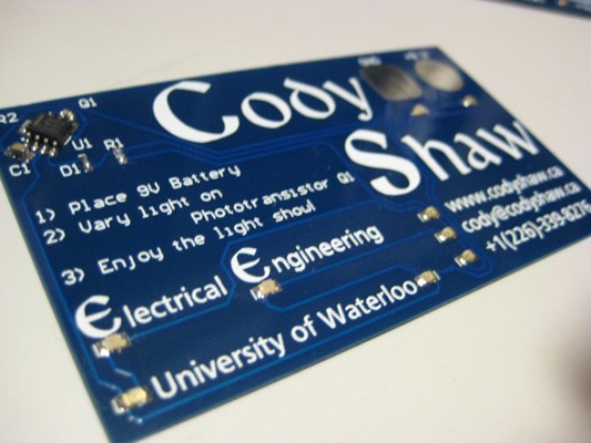 Engineer makes light up business cards with 555 timer proves pcb skills image credit colourmoves