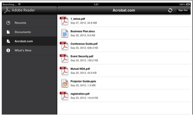 adobe reader for ios and android updated with cloud storage support. Black Bedroom Furniture Sets. Home Design Ideas