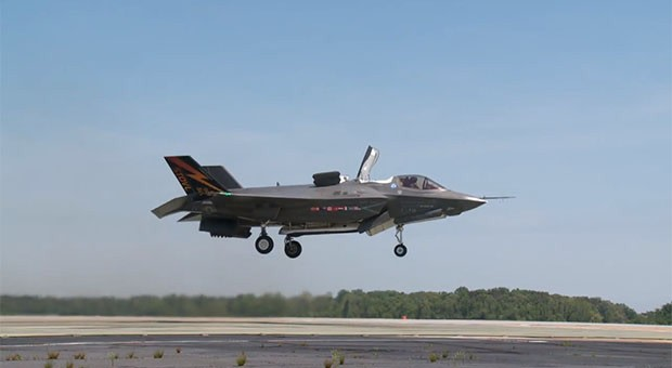 production f 35b performs first vertical takeoff won t do it often