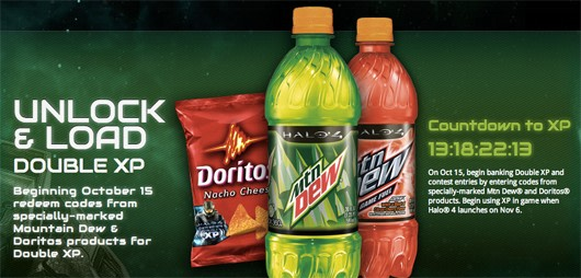 halo 4 teams up with doritos and mountain dew for double xp
