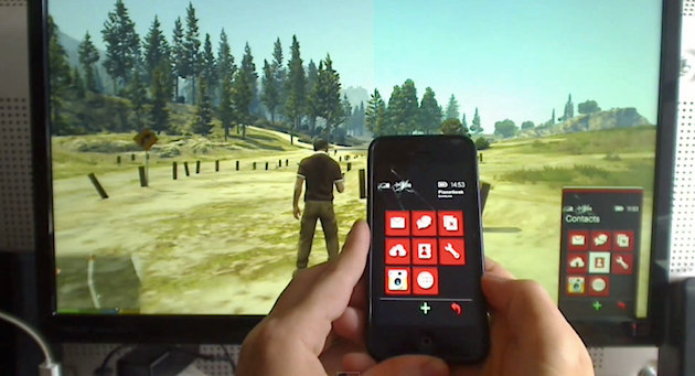 Control the gta v cellphone with an iphone arduino and