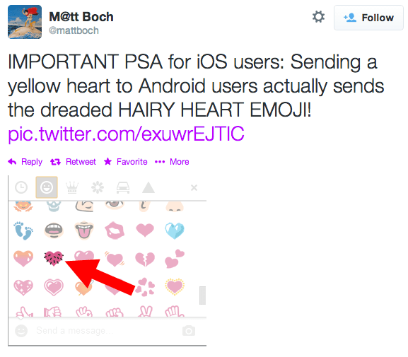 You May Be Accidentally Sending Friends A Hairy Heart Emoji