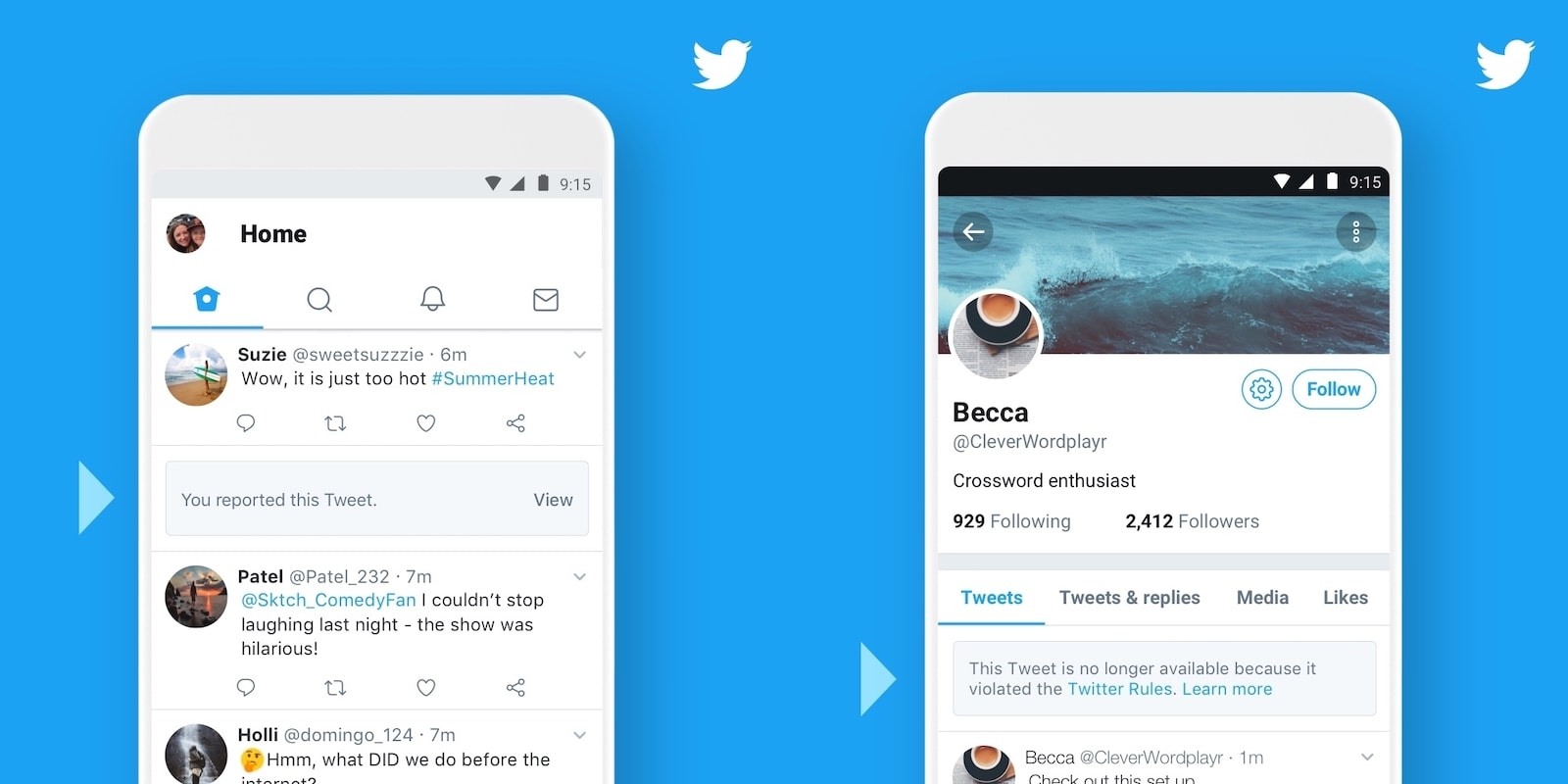 Twitter will show users when tweets are removed for policy violations