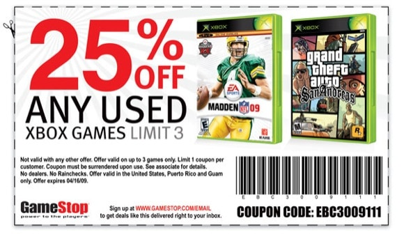 coupon 25 off used xbox games at gamestop. Black Bedroom Furniture Sets. Home Design Ideas