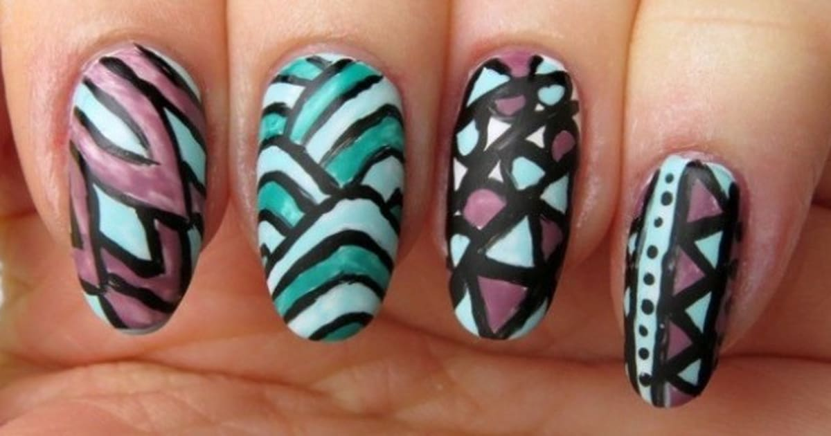 An Adult Colouring Book Inspired Nail Art Design Huffpost Canada