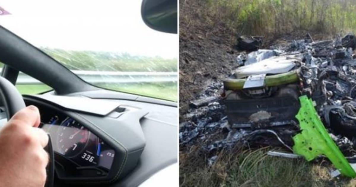 lamborghini huracan crash video catches horrific smash at 200mph