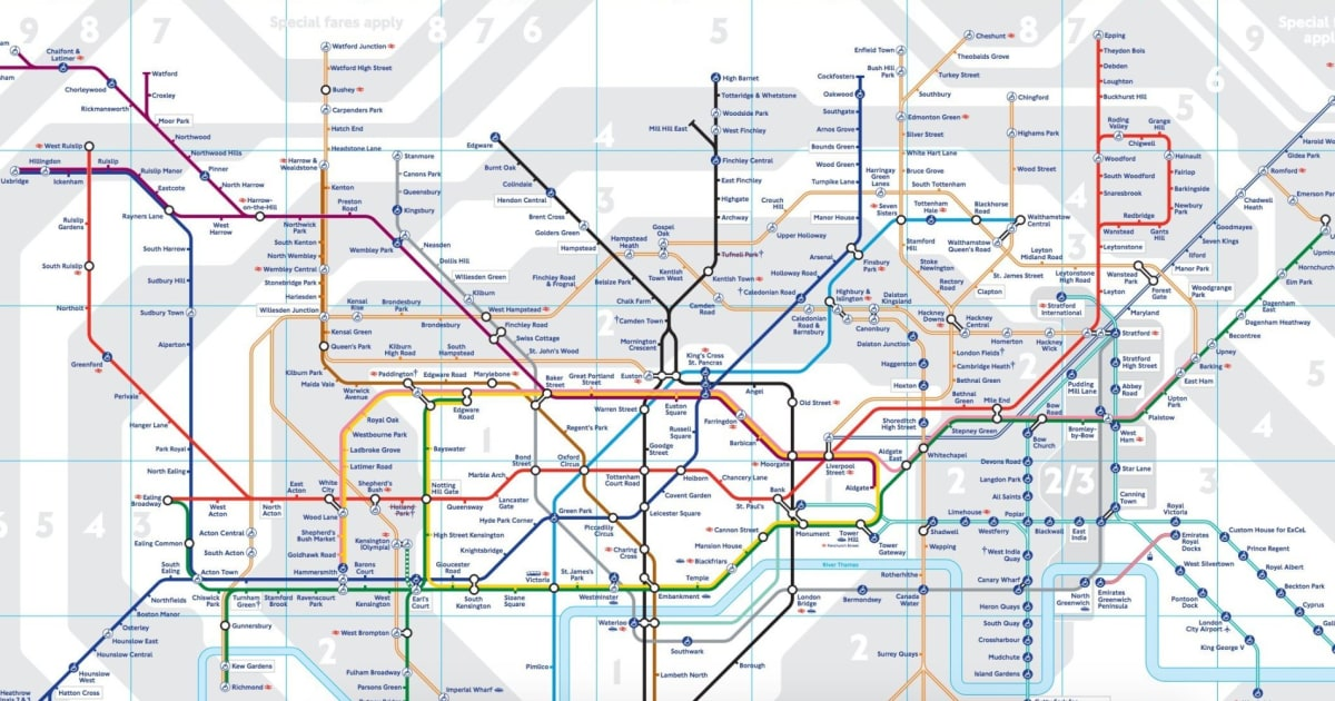london underground 2016 tube map shows new zones for stratford canning town west ham