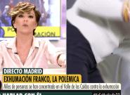Una franquista abandona indignada una entrevista en directo en
