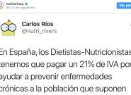 La interesante reflexión de Carlos Ríos sobre por qué la Nutrición debería formar parte de la Sanidad
