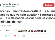 Los tuits sobre lo malo que ha sido el Cardiff-Newcastle te van a alegrar el