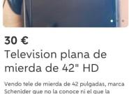 Intenta vender una tele en Wallapop con el anuncio más lamentable de la