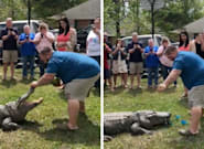 Man Uses Live Alligator For His Baby's Gender Reveal