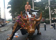 Wall Street Bull Covered In Sex Toys, Ridden By 'Vladimir